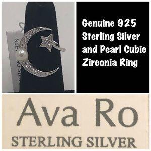 Ava Ro 925 Silver Moon & Star CZ & Pearl Ring